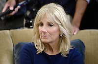 Dr. Jill Biden attends a  discussion on the release of the Cancer Moonshot Report in the Oval Office of the White House on October 17, 2016 in Washington, DC. <br /> Credit: Olivier Douliery / Pool via CNP /MediaPunch
