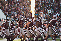 Mississippi State football players run onto the field before Saturday's [Sept. 16] 37-7 Bulldog victory over LSU. The dominant performance has propelled MSU to the No. 17 ranking in this week's Associated Press poll. Saturday's game capped an exciting weekend at MSU that included Cowbell Yell, Bulldog Bash, SEC Nation and MSU's win against LSU.<br />