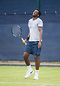 June 10th 2017,  Nottingham, England; ATP Aegon Nottingham Open Tennis Tournament day 1; Exasperation from Takanyi Garanganga of Zimbabwe in his game against Luke Bainbridge of Great Britain