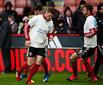 Jack O'Connell of Sheffield Utd warm up in heads up t-shirt during the Premier League match at Bramall Lane, Sheffield. Picture date: 9th February 2020. Picture credit should read: Simon Bellis/Sportimage
