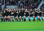 4th November 2017, Twickenham Stadium, Twickenham, England; Autumn International Rugby, Barbarians versus New Zealand; New Zealand team performing the Haka in front of the Barbarians before kick off