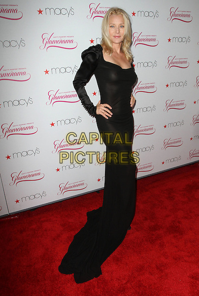 Angie Featherstone.Macy's Passport presents Glamorama 2011, Orpheum Theatre, Los Angeles, California, USA..23rd September 2011.full length dress black train long sleeves hands on hips   .CAP/ADM/KB.©Kevan Brooks/AdMedia/Capital Pictures.