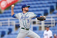 Hartford Yard Goats relief pitcher Shane Broyles (35) delivers a pitch during a game against the Binghamton Rumble Ponies on July 9, 2017 at NYSEG Stadium in Binghamton, New York.  Hartford defeated Binghamton 7-3.  (Mike Janes/Four Seam Images)