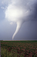 A long slender, white tornado churns across farmland near Stuart Nebraska on June 9th, 2003. This same storm produced a large long-track tornado north of O'neill that resulted in the destruction of several farmsteads.
