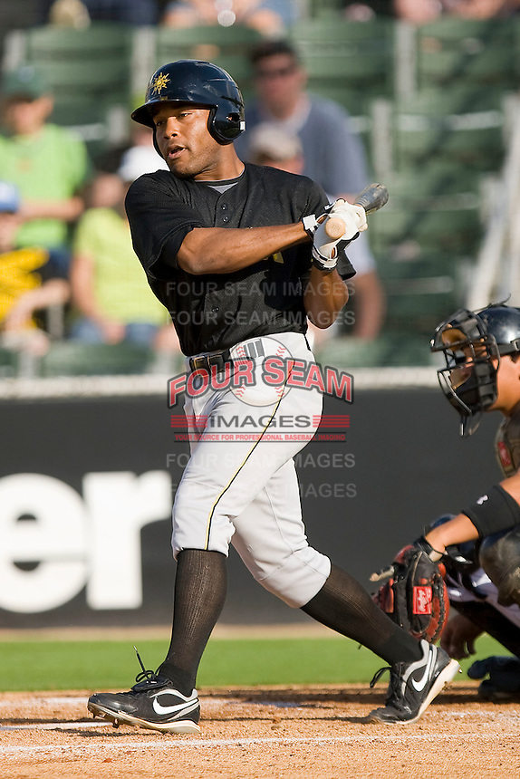 Evan Chambers #53 of the West Virginia Power follows through on his swing against the Kannapolis Intimidators at Fieldcrest Cannon Stadium April 25, 2010, in Kannapolis, North Carolina.  Photo by Brian Westerholt / Four Seam Images