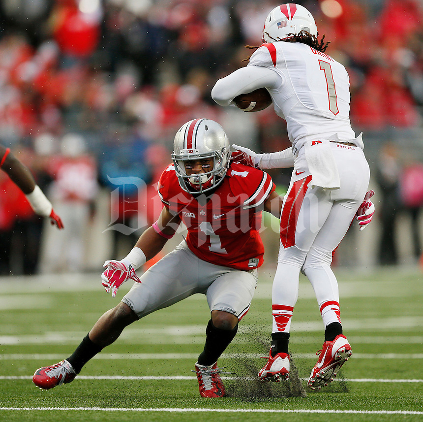 Ohio State Buckeyes safety Erick Smith (1) in action during an NCAA college football game between The Ohio State Buckeyes and the Rutgers Scarlet Knights at Ohio Stadium on Saturday, October 18, 2014.  (Columbus Dispatch photo by Fred Squillante)