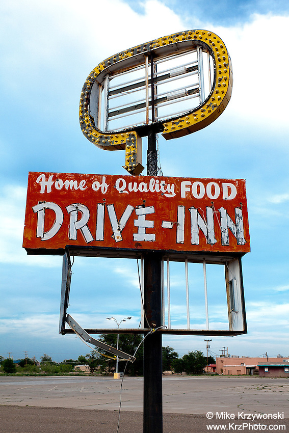 "Abandoned ""Drive-Inn"" Restaurant Sign in Tucumcari, NM"