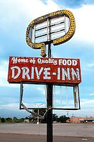 "Abandoned ""Drive-Inn"" Restaurant Sign in Tucumcari, NM"