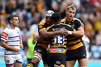Wasps players celebrate a try from Juan De Jongh of Wasps. Gallagher Premiership match, between Wasps and Leicester Tigers on September 16, 2018 at the Ricoh Arena in Coventry, England. Photo by: Patrick Khachfe / JMP