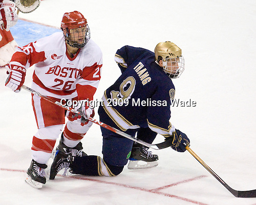 Luke Popko (BU - 26), Ryan Thang (Notre Dame - 9) - The University of Notre Dame Fighting Irish defeated the Boston University Terriers 3-0 on Tuesday, October 20, 2009, at Agganis Arena in Boston, Massachusetts.