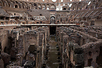The exposed catacombs of the Colosseum is seen on Wednesday, Sept. 23, 2015, in Rome, Italy. (Photo by James Brosher)