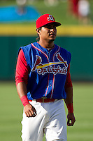 Donovan Solano (11) of the Springfield Cardinals warms up prior to a game against the Corpus Christi Hooks at Hammons Field on August 13, 2011 in Springfield, Missouri. Springfield defeated Corpus Christi 8-7.  (David Welker / Four Seam Images)