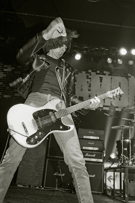 Johnny Ramone, lead guitarist in The Ramones, at the Lyceum in London, 27 February 1985...The Ramones were the foremost US punk band of the 70's and 80's.