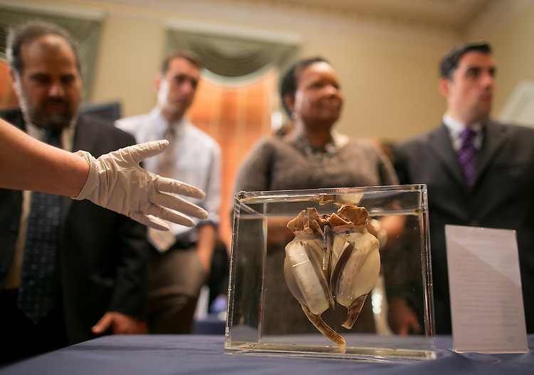 "UNITED STATES - JUNE 17 - UNITED STATES - JUNE 17 - The first completely artificial heart implanted in a human, is seen on display from the National Museum of American History before a House Administration Committee Hearing on ""The State of the Smithsonian"" in the Longworth House Office Building on Wednesday, June 17, 2015. The heart was developed by Domingo Liotta and implanted by surgeon Denton Cooley on April 4, 1969, in Houston, Texas. The patient, Haskell Karp, lived for 64 hours before receiving a new heart but shortly died after due to other causes. (Photo By Al Drago/CQ Roll Call)"