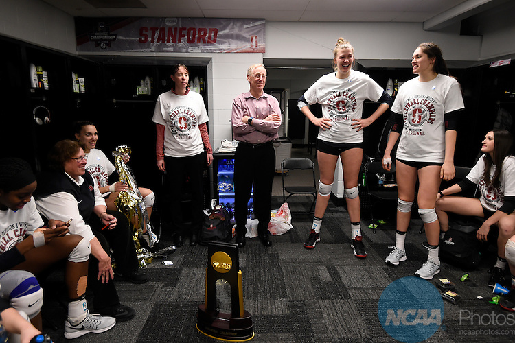 COLUMBUS, OH - DECEMBER 17:  Head Coach John Dunning of Stanford University celebrates with his team after defeating the University of Texas during the Division I Women's Volleyball Championship held at Nationwide Arena on December 17, 2016 in Columbus, Ohio.  Stanford defeated Texas 3-1 to win the national title. (Photo by Jamie Schwaberow/NCAA Photos via Getty Images)