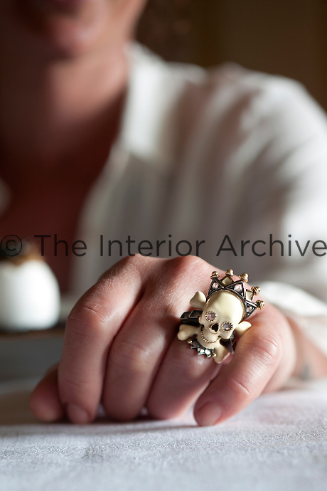 A Skull ring by Codognato worn by creative chef Maddalena Caruso