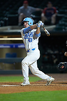 Brendan Illies (43) of the North Carolina Tar Heels follows through on his swing against the Miami Hurricanes in the second semifinal of the 2017 ACC Baseball Championship at Louisville Slugger Field on May 27, 2017 in Louisville, Kentucky. The Tar Heels defeated the Hurricanes 12-4. (Brian Westerholt/Four Seam Images)
