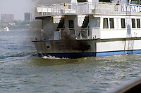 POLLUTION: DIESEL EXHAUST<br /> From A Ferry Boat<br /> Diesel exhaust is a hazardous substance that has been linked to cancer and respiratory disease, especially after repeated exposure. It contributes to ozone creation and the production of fine particulate as well as global warming.