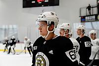 June 28, 2018: Boston Bruins defenseman Teemu Kivihalme (60) waits to skate during the Boston Bruins development camp held at Warrior Ice Arena in Brighton Mass. Eric Canha/CSM