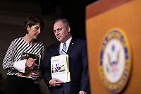 Representative Cathy McMorris Rodgers, Republican of Washington, whispers to Representative Steve Scalise, Republican of Louisiana, during a post Republican Caucus meeting press conference on Capitol Hill in Washington, DC on June 13, 2018. Credit: Alex Edelman / CNP /MediaPunch