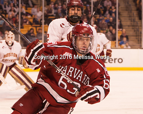 Alex Tuch (BC - 12), Colin Blackwell (Harvard - 63) - The Boston College Eagles defeated the Harvard University Crimson 3-2 in the opening round of the Beanpot on Monday, February 1, 2016, at TD Garden in Boston, Massachusetts.