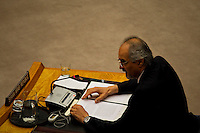 Syrian Ambassador to the United Nations Bashar Jaafari speaks to the security council at the UN headquarter in New York, July 19, 2012.  UN Security Council vetoed a resolution that would impose sanctions against Syria's President Bashar al-Assad if he does not end the use of heavy weapons.  as members of the 15-nation council to block resolutions on Syria. Photo by Eduardo Munoz Alvarez / VIEW.