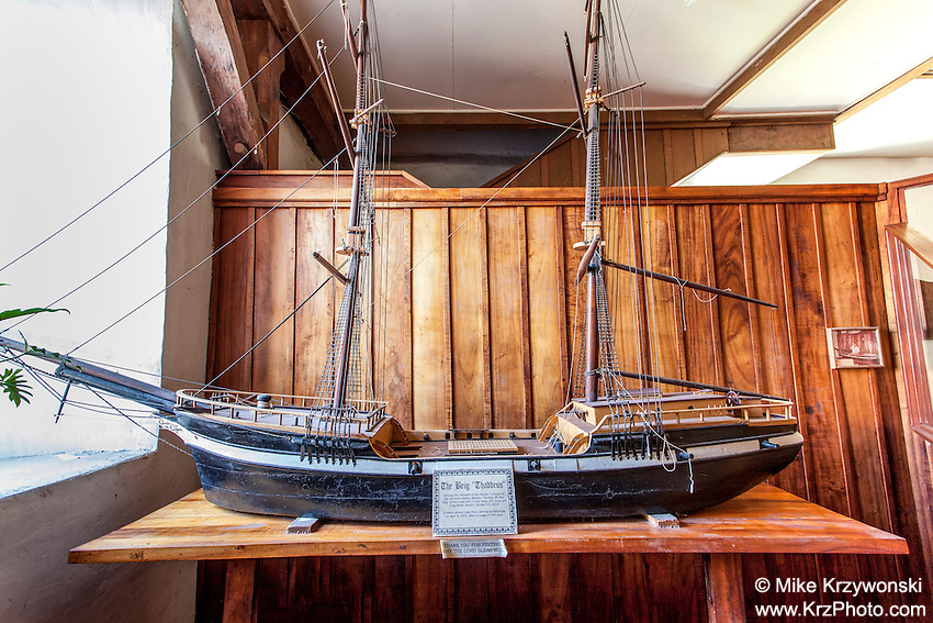 "Model of the Brig ""Thaddeus"" displayed inside the Mokuaikaua Church, Kailua-Kona, Big Island, Hawaii"