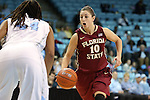 31 January 2013: Florida State's Leonor Rodriguez (ESP) (10) and North Carolina's Tierra Ruffin-Pratt (44). The University of North Carolina Tar Heels played the Florida State University Seminoles at Carmichael Arena in Chapel Hill, North Carolina in an NCAA Division I Women's Basketball game. UNC won the game 72-62.