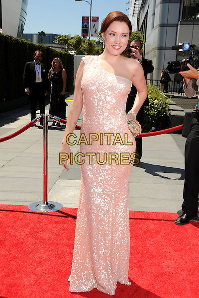 CLARE GRANT .62nd Annual Primetime Creative Arts Emmy Awards - Arrivals held at Nokia Theatre L.A. Live, Los Angeles, CA, USA, 21st August 2010..emmys arrivals full length long maxi dress one shoulder hand on hip nude smiling  sequined sequin cream beige claire .CAP/ADM/BP.©Byron Purvis/AdMedia/Capital Pictures.