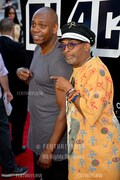 """Spike Lee & Dave Chappelle at the Los Angeles premiere of """"BlacKkKlansman"""" at the Academy's Samuel Goldwyn Theatre, Beverly Hills, USA 08 Aug. 2018<br /> Picture: Paul Smith/Featureflash/SilverHub 0208 004 5359 sales@silverhubmedia.com"""