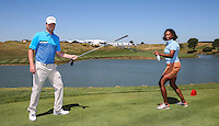 Marc Warren (SCO) meets his match in double Olympic golf fencing winner Laura Flessel-Colovic, during the Pro-Am ahead of the 2015 Alstom Open de France, played at Le Golf National, Saint-Quentin-En-Yvelines, Paris, France. /30/06/2015/. Picture: Golffile | David Lloyd<br /> <br /> All photos usage must carry mandatory copyright credit (&copy; Golffile | David Lloyd)