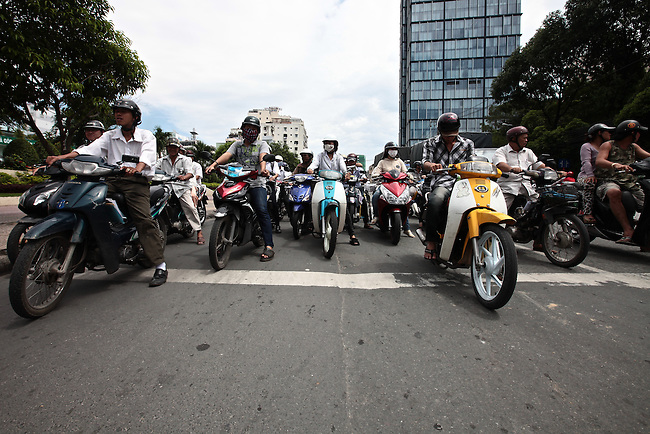 Motor bikes are the most common form of transportation in Vietnam, and it's not uncommon to see hundreds of them lined up at traffic lights throughout Ho Chi Minh City at any given time. Aug. 24, 2011