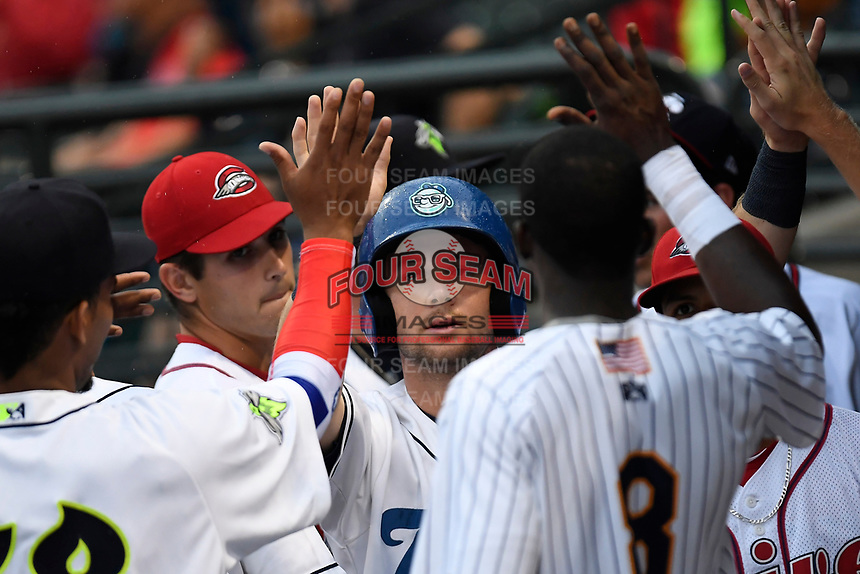 Max George (3) of the Asheville Toursits on the South team is greeted after scoring a run at the South Atlantic League All-Star Game on Tuesday, June 20, 2017, at Spirit Communications Park in Columbia, South Carolina. The game was suspended due to rain after seven innings tied, 3-3. (Tom Priddy/Four Seam Images)