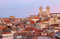 rooftops and the cathedral se porto portugal