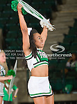 North Texas Mean Green cheerleaders in action during the game between the Troy Trojans and the University of North Texas Mean Green at the North Texas Coliseum,the Super Pit, in Denton, Texas. UNT defeats Troy 57 to 36.....