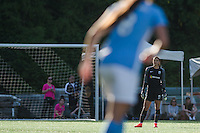 Seattle, WA - Sunday, April 17, 2016: Seattle Reign FC goalkeeper Hope Solo (1) looks on during the second half of the match. Sky Blue FC defeated the Seattle Reign FC 2-1 during a National Women's Soccer League (NWSL) match at Memorial Stadium.