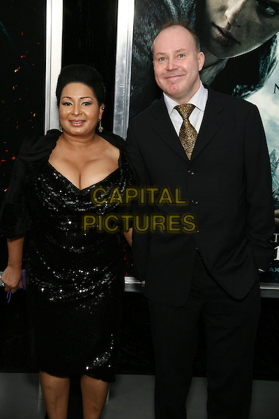 "YVONNE & DAVID YATES, director.The New York Premiere of ""Harry Potter and the Deathly Hallows Part I"" held at Alice Tully Hall - Lincoln Center, New York, NY, USA..November 15th, 2010.half length dress married husband wife cleavage black jacket blue gold tie .CAP/LNC/TOM.©TOM/LNC/Capital Pictures."