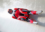 6 February 2009: Alex Gough from Canada slides through a curve in the Women's Competition finishing in fouth place for the event with a combined time of 1:28.615 at the 41st FIL Luge World Championships, in Lake Placid, New York, USA. .  .Mandatory Photo Credit: Ed Wolfstein Photo
