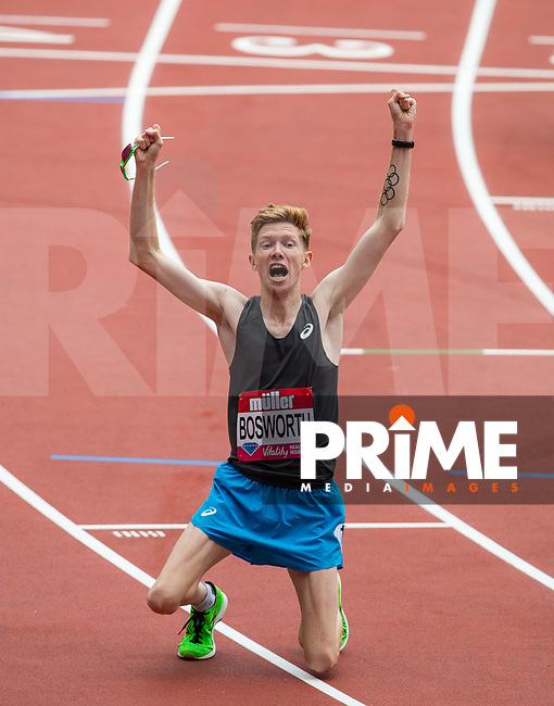 Tom Bosworth of GBR celebrates his World Record time of 5.31.08 in the Mens 1 Mile Walk during the Muller London Anniversary Games 2017 at the Queen Elizabeth Park, Olympic Park, London, England on 9 July 2017.  Photo by Andy Rowland.