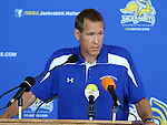 BROOKINGS, SD - AUGUST 11: Lang Wedemeyer,<br /> Head Coach of South Dakota State University Women's Soccer, addresses the media Monday afternoon at the Jacks Media Day in Brookings. (Photo by Dave Eggen/Inertia)