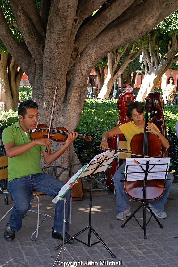 Music students performing in the Jardin in San Miguel de Allende, Mexico