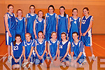 UNDER 14: The under 14 girls basketball team from Tralee who played in the under 14 girls final on Sunday at Mercy Mounthawk Secondary School Gym. Front l-r: Kate Ann O'Connor, Sarah Rath, Barbara Higgins, Niamh Comerford, Kate Mansfield and McKenzie Keane. Back l-r: Sinead O'Connor, Debra Kearney, Ellie Scanlon, Hillary White, Meabh Barry, Laura Hoffman, Regina Rath and Seona Quigley..
