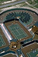 Aerial of Vic Braden's Tennis College, Coto de Caza, CA, 1975. Features 18 circular teaching lanes designed by Braden. Photo by John G. Zimerman.
