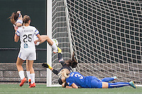 Allston, Massachusetts - July 9, 2015:  FC Kansas City (white/black) defeated the Boston Breakers (blue/white), 3-2 in a National Women's Soccer League Elite (NWSL) match at Soldiers Field Soccer Stadium.