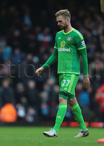 27.02.2016. Boleyn Ground, London, England. Barclays Premier League. West Ham versus Sunderland. Sunderland Defender Jan Kirchhoff look dejected at full time, 1-0 West Ham