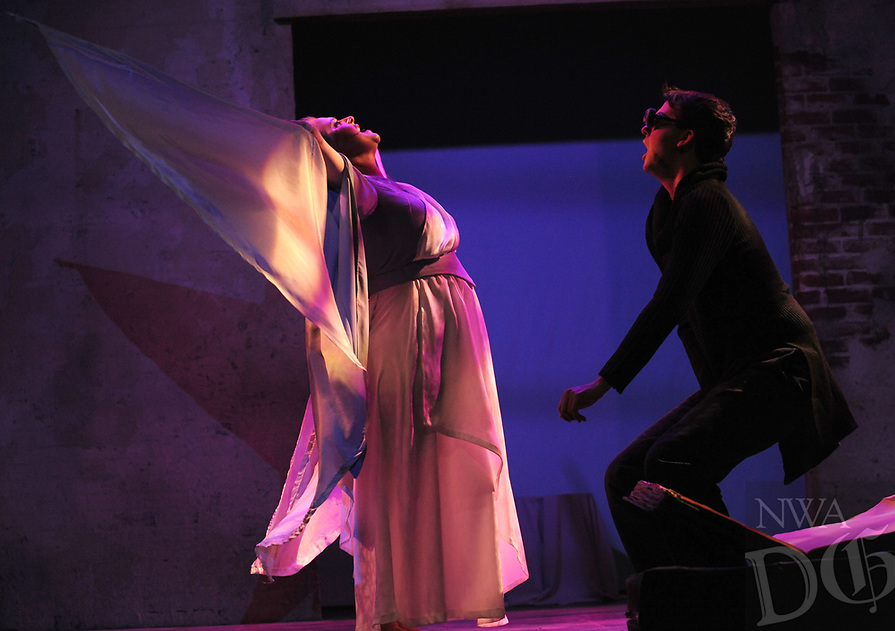 NWA Democrat-Gazette/ANDY SHUPE<br /> Jeremy Stuthard (right) and Mollie Armour rehearse a scene Tuesday, March 7, 2017, in the University of Arkansas' production of &quot;Angels in America Part II&quot; in the Global Campus in Fayetteville.