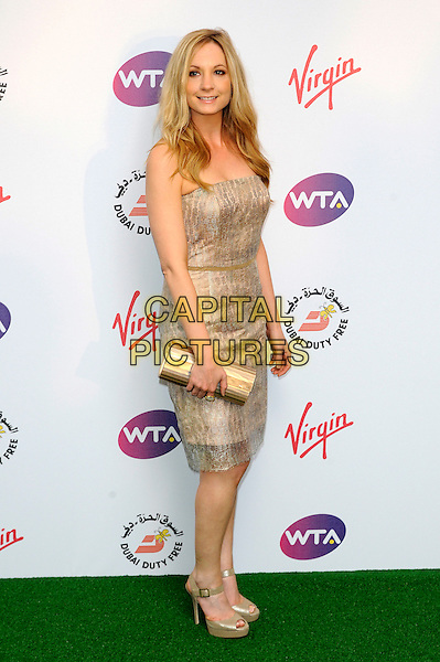 Joanne Froggatt.Pre-Wimbledon Party held at The Roof Gardens, Kensington, London, England, UK, 21st June 2012..full length dress gold shoes clutch bag beige strapless nude .CAP/CJ.©Chris Joseph/Capital Pictures.