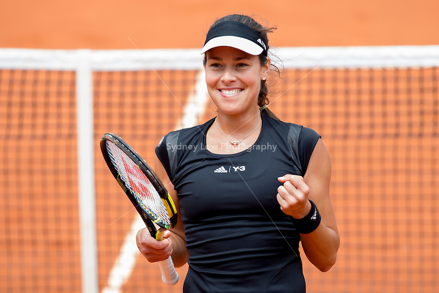 May 31, 2015: Ana IVANOVIC of Serbia celebrates winning a 4th round match against Ekaterina MAKAROVA of the Russian Federation on day eight of the 2015 French Open tennis tournament at Roland Garros in Paris, France. Sydney Low/AsteriskImages