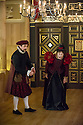London, UK. 25.02.2014.  Shakespeare's Globe presents THE KNIGHT OF THE BURNING PESTLE, directed by Adele Thomas, in the Sam Wanamaker Playhouse. Picture shows: Phil Daniels (Citizen) and Pauline McLynn (Citizen's Wife). Photograph © Jane Hobson.