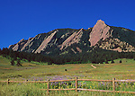 The Flatirons<br /> View of Boulder's famous Flatirons formation on a beautiful spring day from Chautauqua Park<br /> Boulder, Colorado